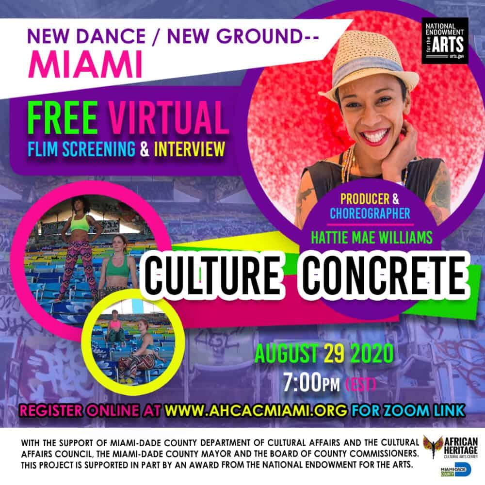 flyer promoting Hattie Mae williams film screening, culture concrete